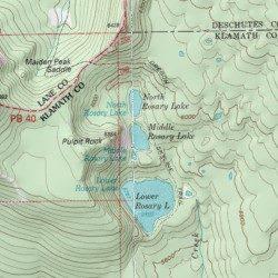 Rosary Lakes Klamath County Oregon Lake Willamette Pass USGS - Oregon lakes map