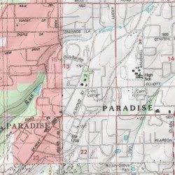 Paradise Butte County California Populated Place Paradise East - Butte county map