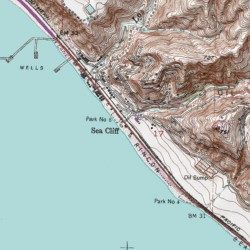 Cliff On A Topographic Map.Sea Cliff Ventura County California Populated Place Pitas Point