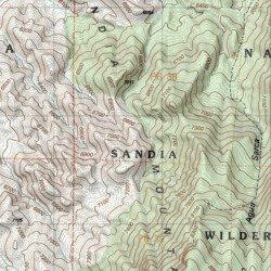 Topographic Map Mountains.Sandia Mountains Sandoval County New Mexico Range Placitas Usgs