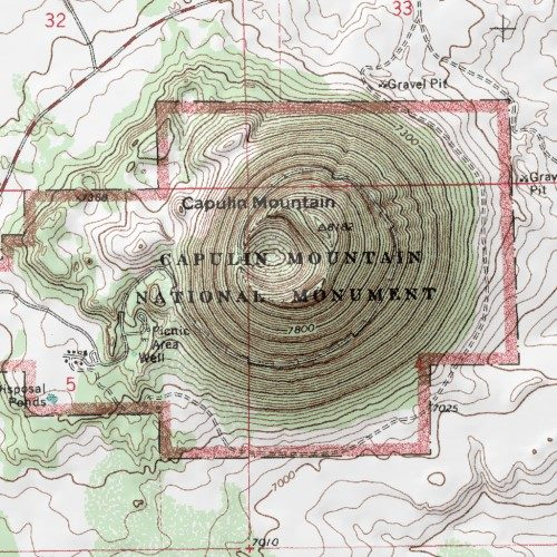 Volcano Topographic Map.Capulin Volcano National Monument Union County New Mexico Park