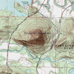 Topographic Map Of A Mountain.Pinnacle Mountain Pulaski County Arkansas Summit Pinnacle