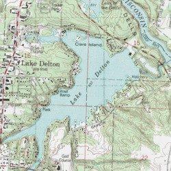 Lake Delton Sauk County Wisconsin Reservoir Wisconsin Dells - Wisconsin topographic lake maps