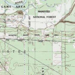 Topographic Map Game.Manistee River State Game Area Manistee County Michigan Park