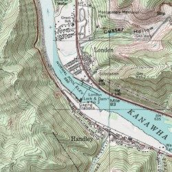 Topographic Map London.London Lock Kanawha County West Virginia Dam Montgomery Usgs