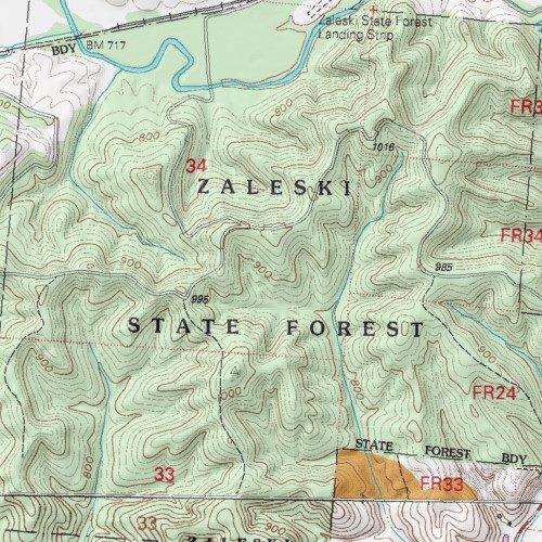 Zaleski State Forest Map on