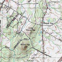 Gettysburg Topographic Map.Little Round Top Adams County Pennsylvania Summit Gettysburg