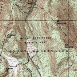 Mount Washington State Forest Berkshire County Massachusetts - Topo map of washington state