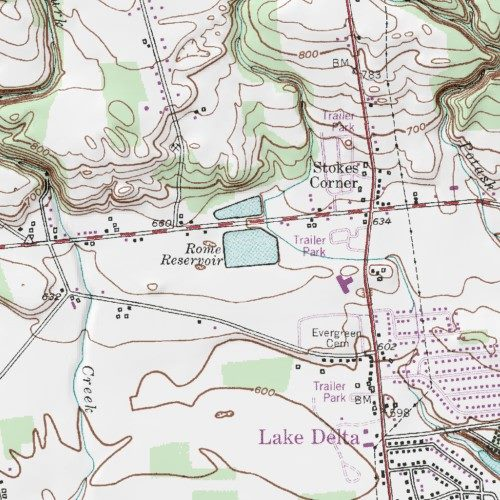 Topographic Map Of Rome.Rome Reservoir Oneida County New York Reservoir Westernville