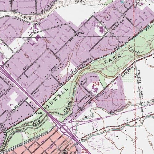 Bidwell Park Butte County California Park Chico Usgs Topographic Map By Mytopo