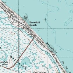 Broadkill Beach Sus County Delaware Poted Place Lewes Usgs Topographic Map By Mytopo